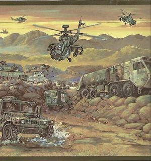 Kids Wallpaper Border / Army Trucks and Helicopters Wall Border / Camo