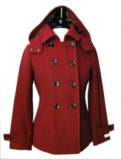 NWT Womens CALVIN KLEIN Red Wool Blends Hooded Peacoat