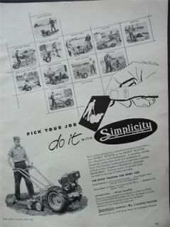 1952 Simplicity Garden Tractor Equipment Photo Vintage Print Ad