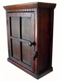 Wood Arts & Crafts Window Design Wood Wall Mount Cabinet Dark Stain