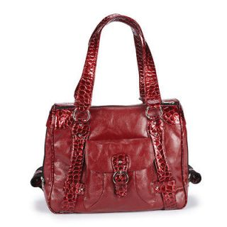 elegant Red Croc Trim Pet Carrier Purse tiny TC puppy Dog Tote Bags to