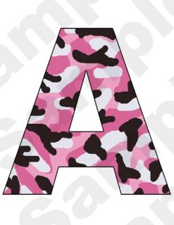 PINK BLACK CAMO GIRL NURSERY BABY CHILDREN ALPHABET WALL LETTERS