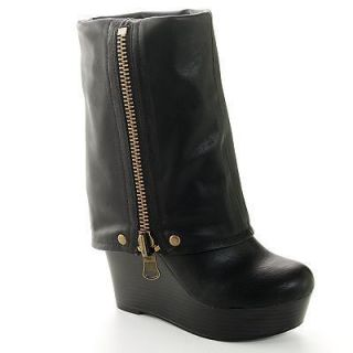 NEW WOMENS SHOES CANDIES BOOTS BLACK ZIPPER PLATFORM FAUX LEATHER LODI