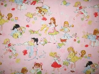 Retro Vintage Pink Girls Kids Children Lets Play House Alexander Henry