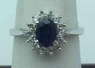 05 Carat Diamond Sapphire Ring Princess Diana Design 14k Gold New In