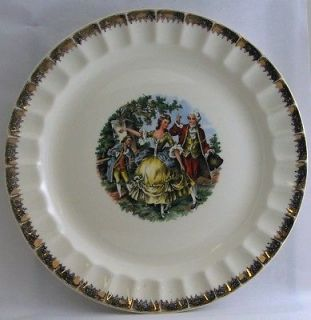 Cronin China 10 Plate Fluted Border Colonial Dancing Couple Union