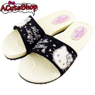 Hello Kitty Indoor Massage Slippers Adult Rose Sanrio Black US 5.5~8.5