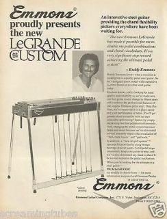 1979 BUDDY EMMONS LEGRANDE CUSTOM PEDAL STEEL GUITAR PRINT AD