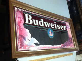 BEER SIGN MIRROR BIG CLASSIC AMERICAN LAGER ANHEUSER BUSCH BREWERY