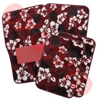 Set Floral Flower Hawaiian Print Red Carpet Car Floor Mat Front Rear
