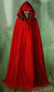 Goth Little Red Riding Hood Costume Partywear Adult Womens Cloak