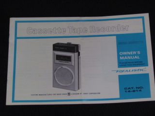 REALISTIC MODEL MICRO MINISETTE CASSETTE TAPE RECORDER OWNERS MAUAL