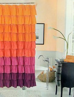 Flamenco Tiered Fabric Shower Curtain 72 X 72