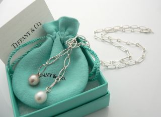 Tiffany & Co Silver Peretti Pink White Pearl Necklace Tassel Link 25