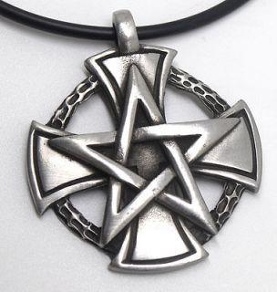 IRON Cross Pentacle Pentagram Star Talisman Silver Pewter Pendant