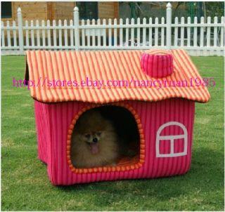 New Sweet Pet Dog Cat House Bed Chimney House Large
