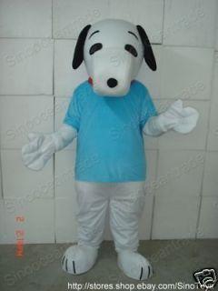 SNOOPY DOG IN BLUE SHIRT ADULT CARTOON MASCOT COSTUME