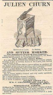 VERY OLD 1869 JULIEN BUTTER CHURN & BUTTER WORKER AD CHAMBERLAIN