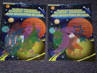 NEW 2 PK GLOW IN THE DARK CEILING STARS+MOON+PLA NETS+SHOOTING STARS