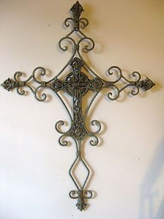 Green Wrought Iron Metal Cross Shabby Wall Decor 28 Rustic Chic