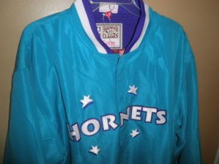 New $125 CHARLOTTE HORNETS Mitchell & Ness throwback NBA jacket Mens
