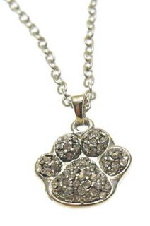 Silver Tone Crystal Animal Paw Print Charm Necklace in Gift Box