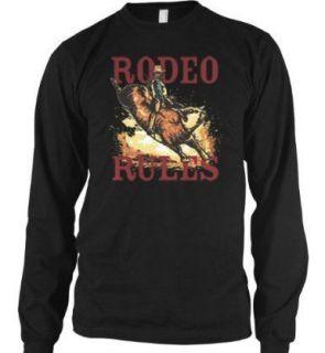 Rodeo Rules Thermal Long Sleeve Shirt Bull Rider Cowboy Bucking Angry