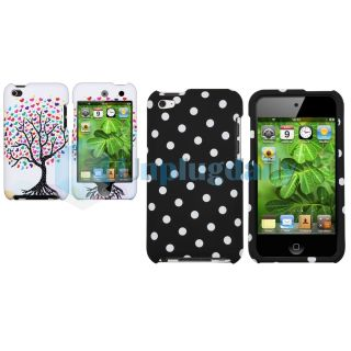 Polka Dot+Wishing Tree White Hard Case Accessories For iPod Touch 4 G