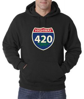Highway 420 Weed Marijuana Smoking Bong 50/50 Pullover Hoodie