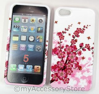 FOR iPHONE 5 PINK CHERRY BLOSSOM FLOWERS SNAP ON PROTECTOR HARD PHONE