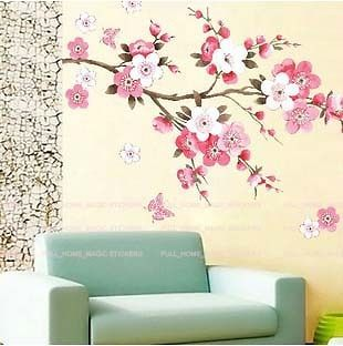 Huge Pink Peach Blossom Tree Butterflies Wall Stickers Girls Room