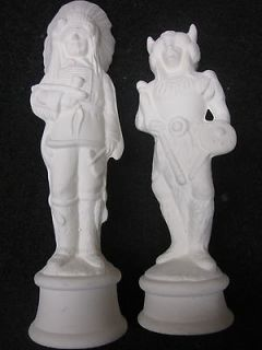 Lot of Two Atlantic Mold Ceramic Greenware Pieces Chief & Warrior