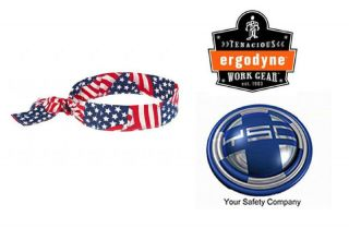 Ergodyne Chill Its 6700 Cooling Bandana Headband Stars & Stripes