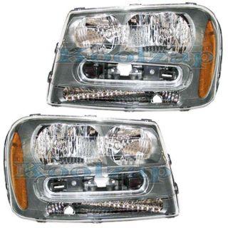 02 09 Chevy Trailblazer Headlights Headlamps Head Lights Lamps Pair