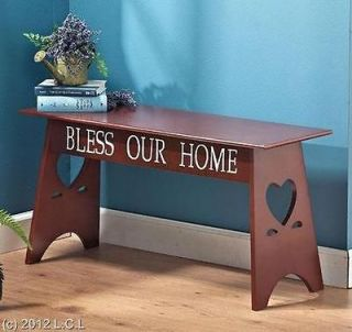 ACCENT FOYER ENTRYWAY MUDROOM SENTIMENT WOODEN BENCH PLANT STAND