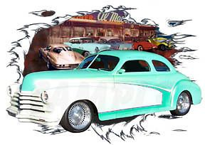 1948 Green Chevy Coupe Custom Hot Rod Diner T Shirt 48, Muscle Car Tee