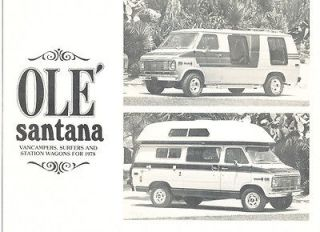 1978 Chevy Van Conversion Santana Fleetwood Original Sales Brochure
