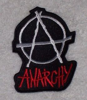 Embroidered Patch / Biker Patch Anarchy Word Large / Anarchy Symbol