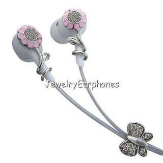 Pink Flower Clear Swarovski Crystals Jewelry Earbuds Earphones