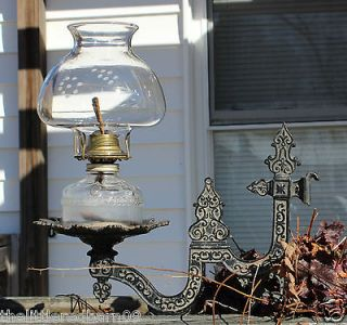 Hanging Eagle Oil Lamp & Shade w/Cast Iron Wall Mount Bracket
