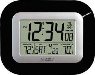LA CROSSE DIGITAL ATOMIC WALL CLOCK BLACK IN and REMOTE OUT TEMP NEW $