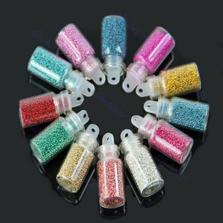 Micro Colorful Ball Beads Nail Art Acrylic Tips Decoration Manicure 12