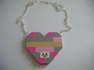 NEW PINK GREY LEGO BRICKS CHUNKY HEART NECKLACE CUTE KITSCH RETRO