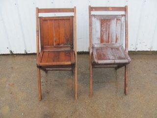 Vintage Antique Solid Wood Folding Chairs #1230
