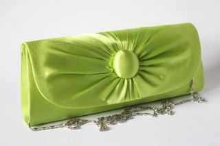 LIME GREEN SATIN STYLE CLUTCH BAG WITH BUTTON DETAILING LADIES PROM