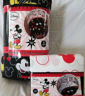 DISNEY MICKEY MOUSE TWIN COMFORTER sheets 4 PC Red White Black   NEW