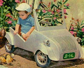 Vintage Postcard: Boy playing w/nice PEDAL CAR similar CITROEN 2CV