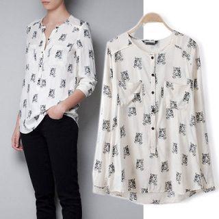 New Elegant Women Chiffon Shirt Long Sleeve V Neck Tiger Print Cat