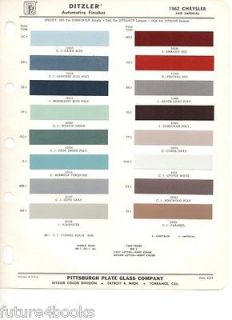 1962 Chrysler & Imperial PPG Ditzler Paint Color Chip Card Body Paint