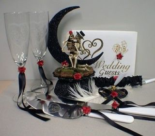 Day of the DEAD Halloween Wedding Cake Topper Funny LOT Glasses, Knife